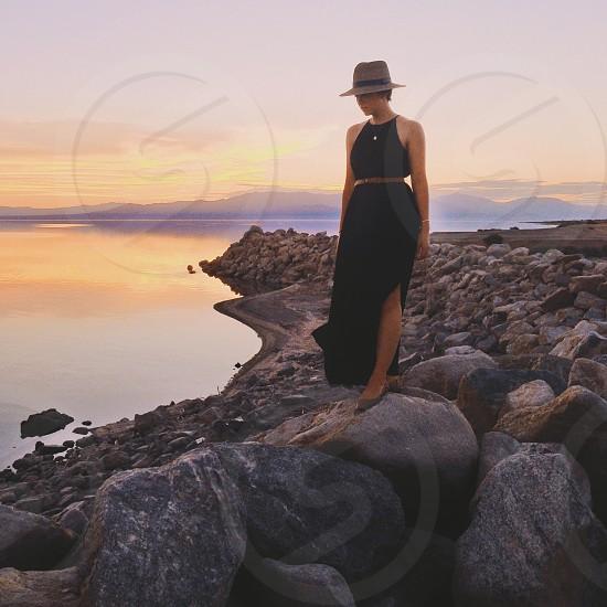 woman in black sleeveless long dress photo