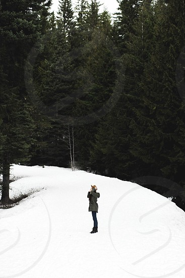 woman in a grey jacket standing on a white snow covered hill with green pine trees photo