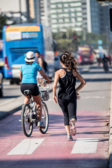 running bicycling  photo