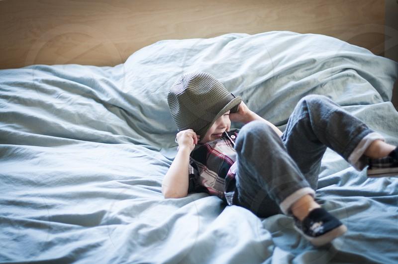 3 child hat plaid kid children bed photo