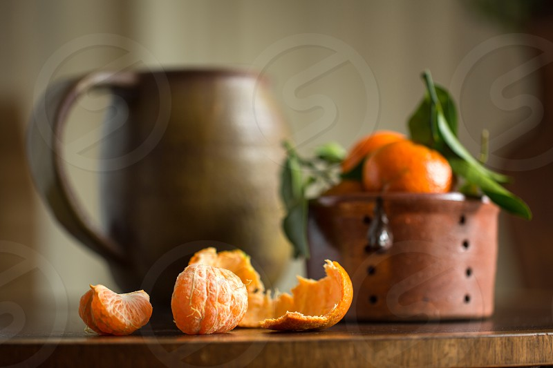 Satsuma oranges on table photo