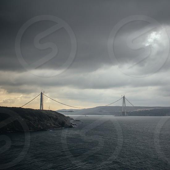 The third bridge over the Bosphorus the Yavuz Sultan Selim Bridge on a gloomy day photo