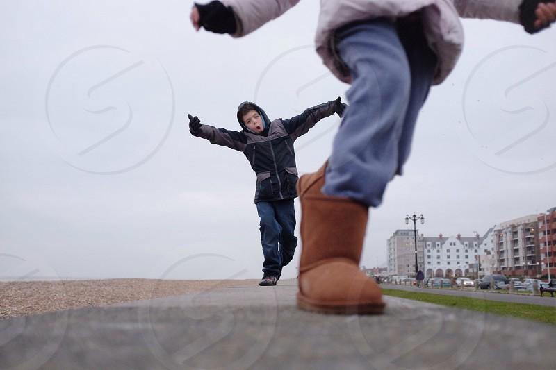 Kids on a wall! photo