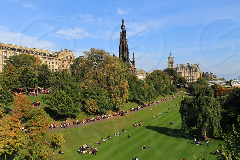 Princess street Gradens Edinburgh looking towards the Scott Monument photo