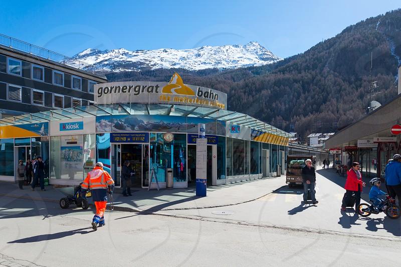 Gornergrat railway station and along the way to Matterhorn in Zermatt Switzerland  photo