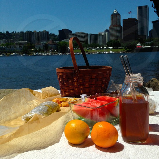Portland Picnic by the Willamette river. photo