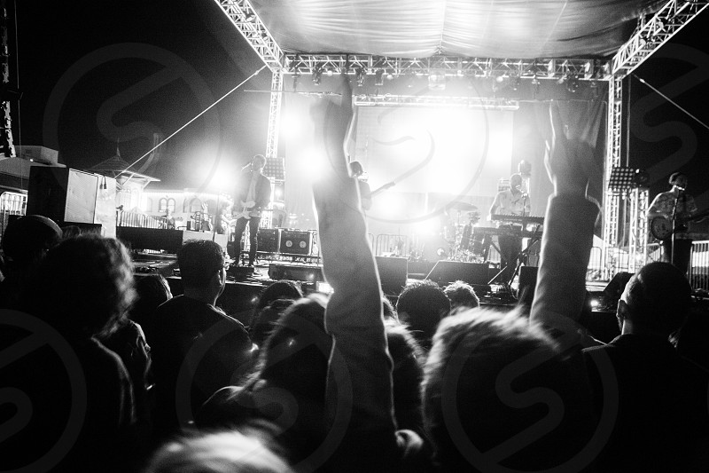 people with arms in air at concert photo