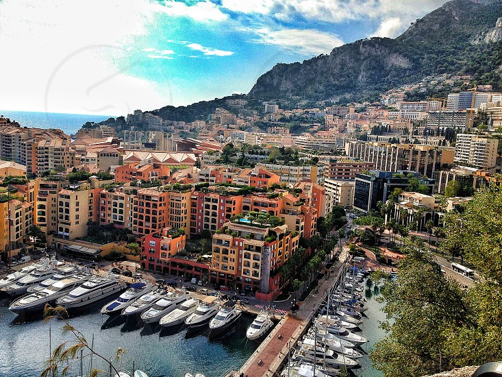 Aerial view harbour boats Monaco France photo