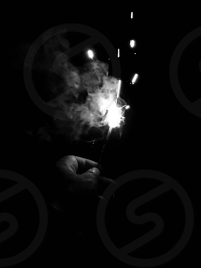 Fourth of July 4th July firework sparkler family friends fire smoke black and white bw  photo