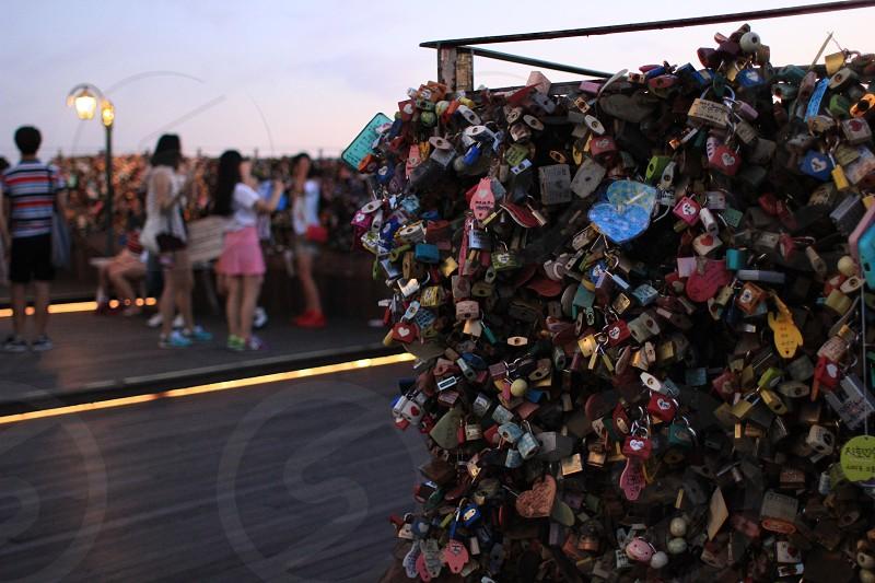Love locks on N Seoul Tower Seoul South Korea photo