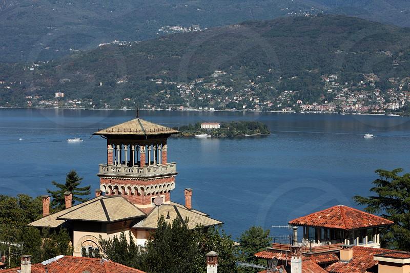 The Village of Stresa on the Lago Maggiore in the Lombardia  in north Italy.  photo