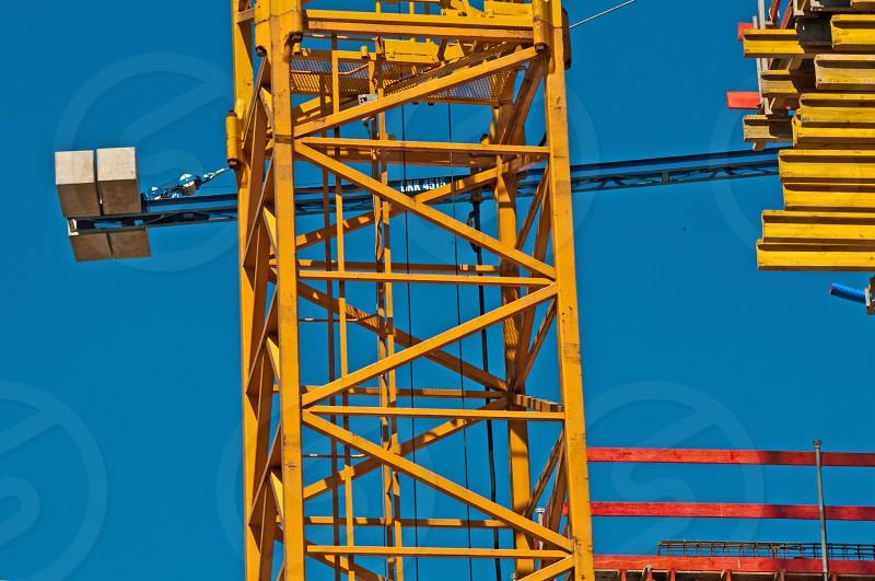 crane on construction field photo