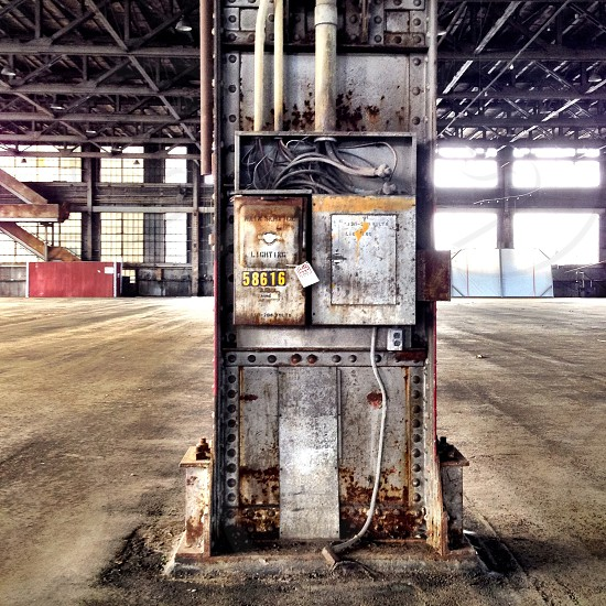 Industrial empty factory interior gritty  photo