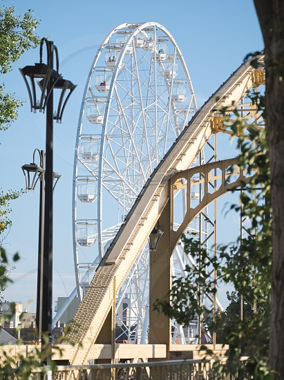 Ferris Wheel and Kossuth Bridge on a Sunny Autumn Day in Győr Hungary photo