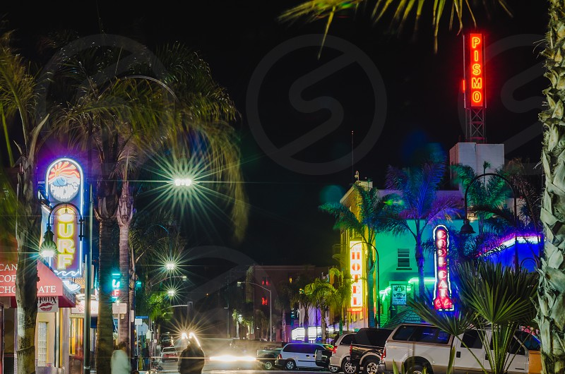 Pismo Beach California Neon Signs City at Night Night Life Beach Town West Coast  photo