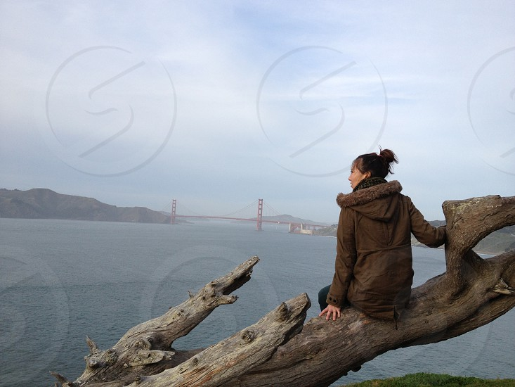 woman wearing brown hooded jacket sitting on brown wood drift wood in front of body of water facing right side photo