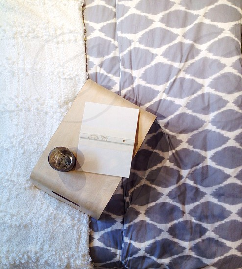 grey and white circle patterned linen photo