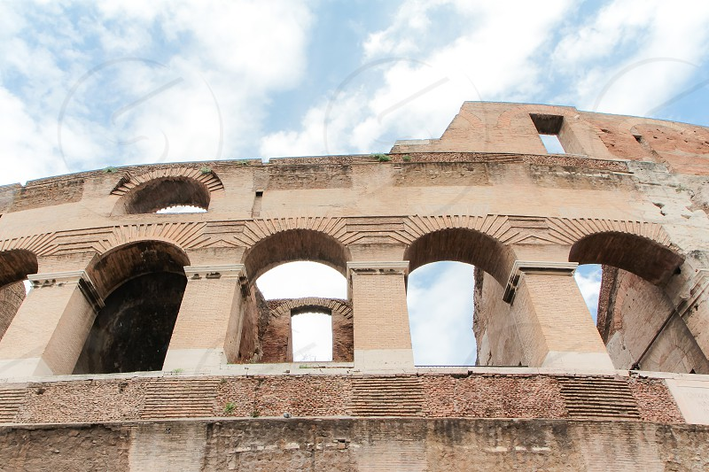 Details of the Colloseum in Rome Italy. photo