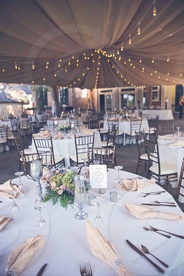 Reception decor table settings wedding tent photo