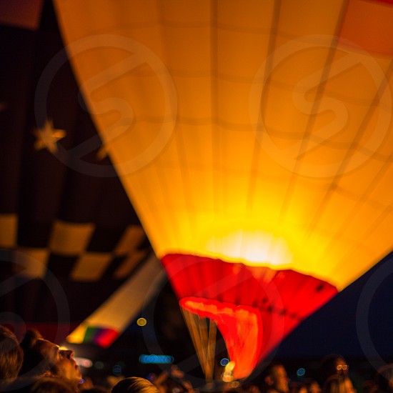 yellow and red hot air balloon photo