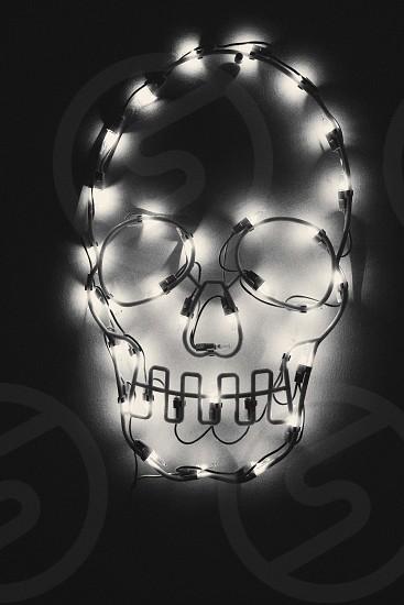 lighted black skull string lights photo