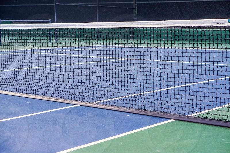 tennis court green blue net sports photo