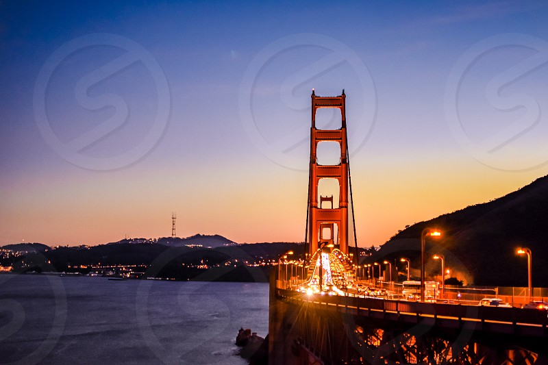 Golden Gate Bridge of San Francisco seen at sunset photo