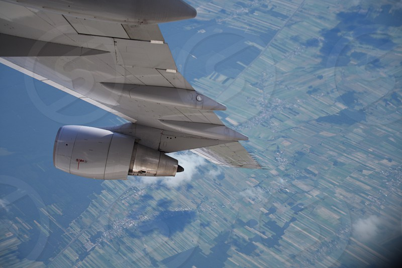 aerial photography of airplane wing photo
