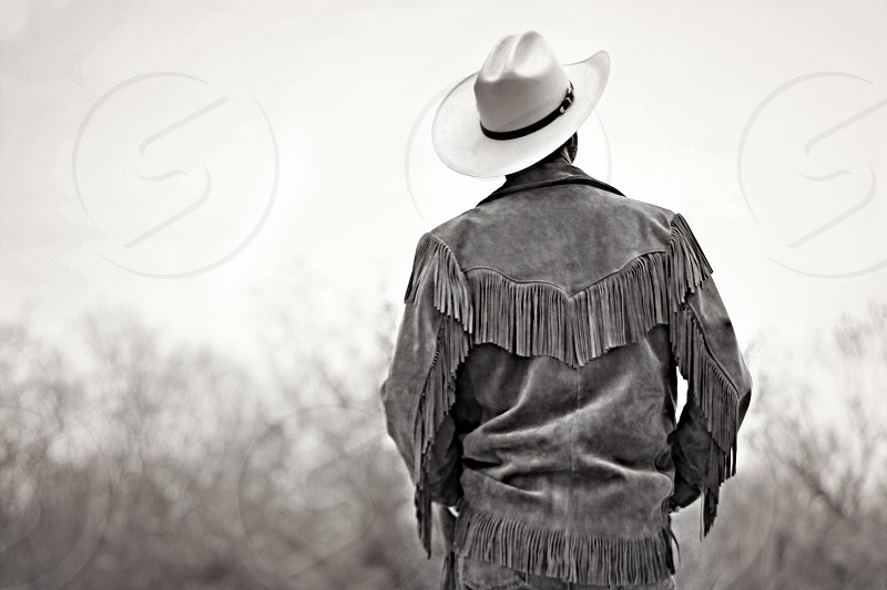 Cowboy cowboy hat country B&W male looking away photo