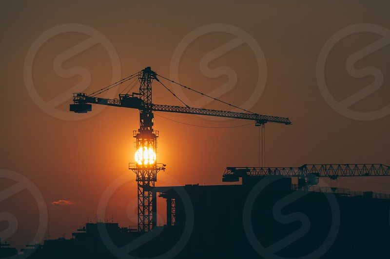 Construction site in sunset with a view photo