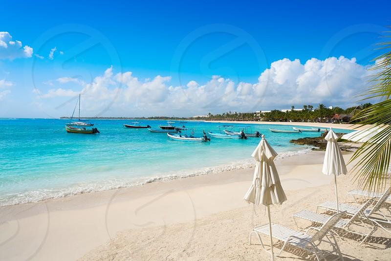 Akumal bay Caribbean beach in Riviera Maya of Mayan Mexico photo
