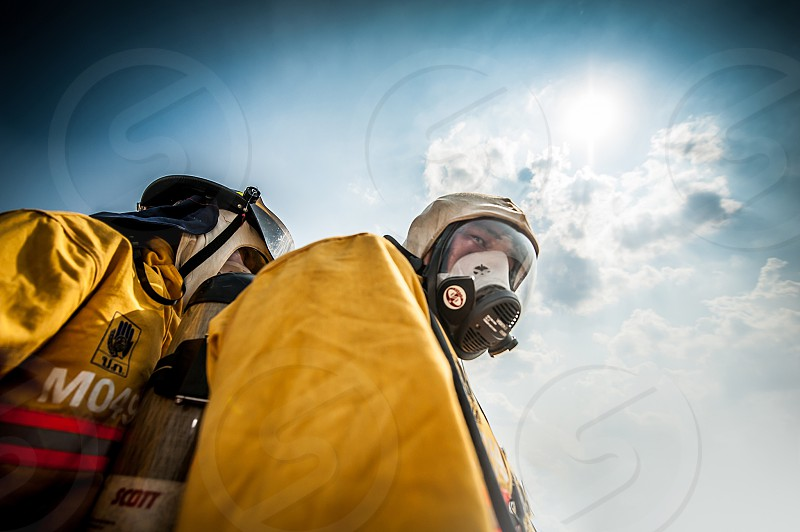 firefighter  mask firefighter suit photo