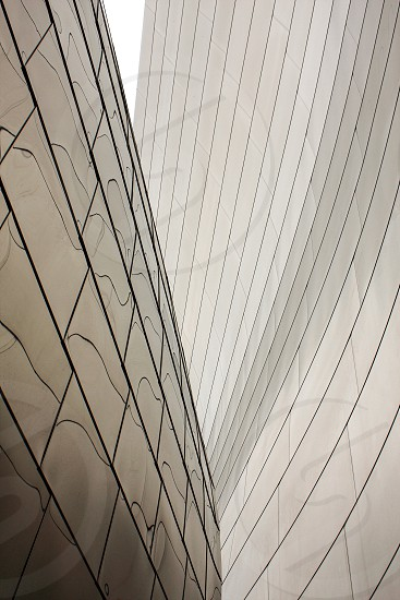 lines curves and shapes of metallic walls of a building  photo