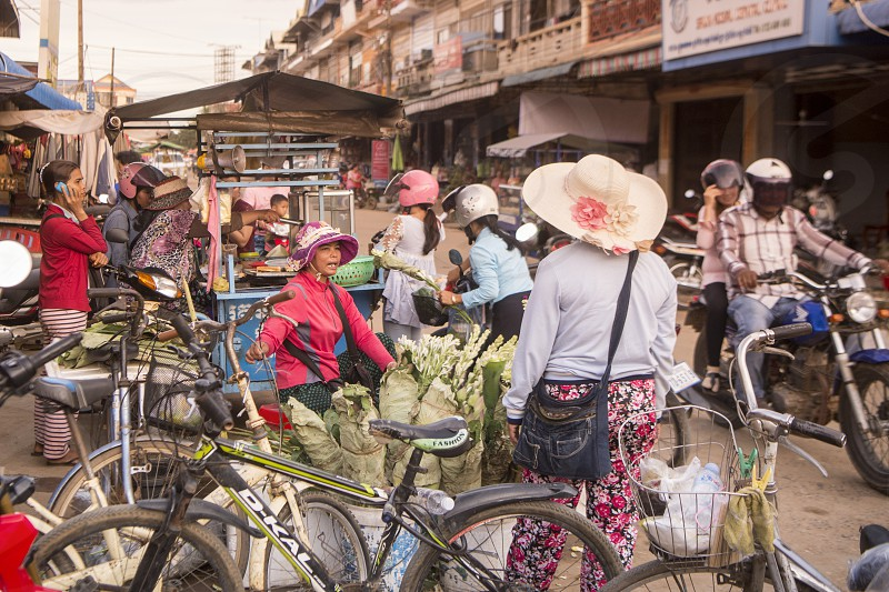 flowers at the market Psar Kampong thom in the city of Kampong Thom of Cambodia.  Cambodia Kampong Thom November 2017 photo