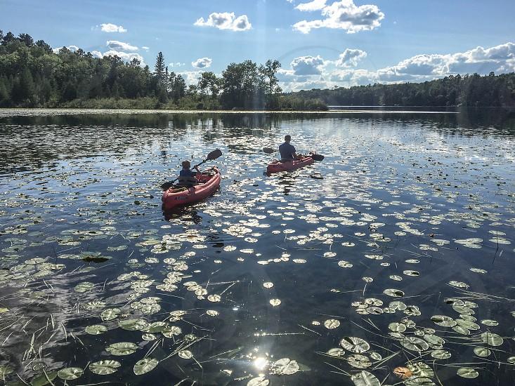 Kayaking Crow Wing Lake in Minnesota photo