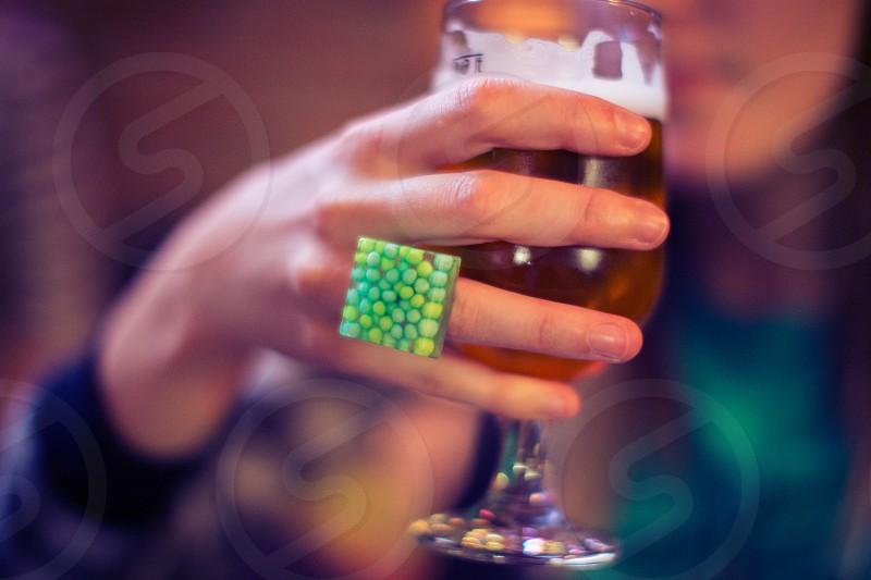 friday night girl beer glass hand ring photo