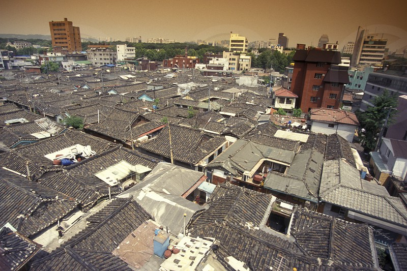 the roofs in the Kwanghwamun Area in the old town of Seoul in South Korea in EastAasia.  Southkorea Seoul May 2006 photo