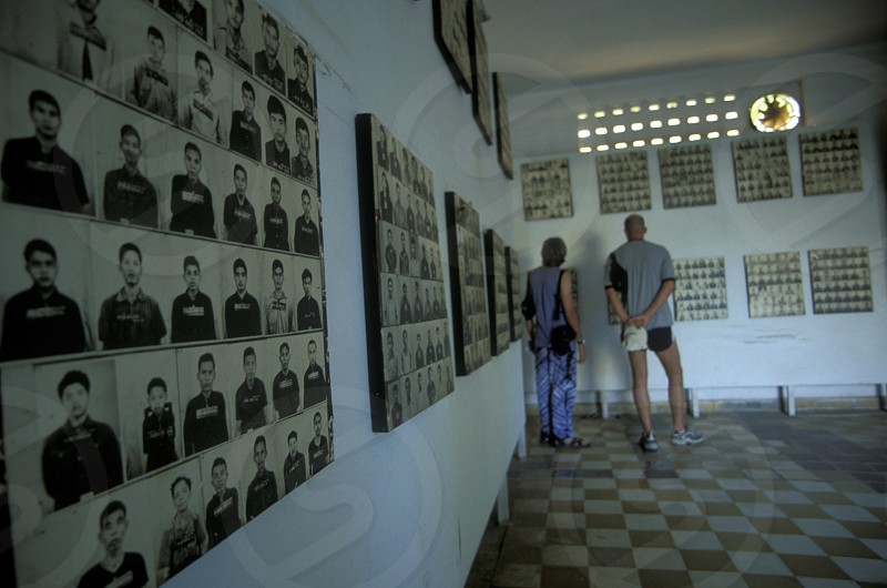The Tuol Sleng Museum shows the history of the khmer rouge crime in the city of phnom penh in cambodia in southeastasia.  photo