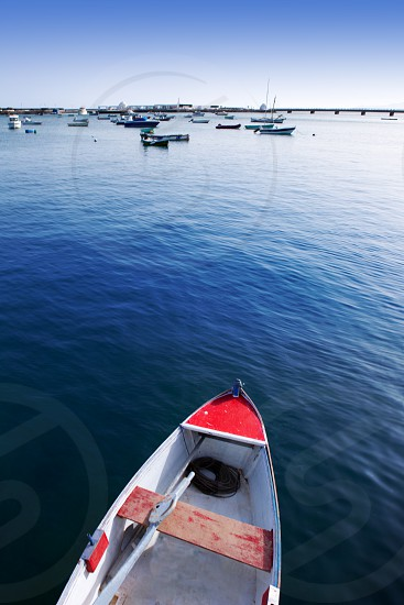 Arrecife Lanzarote boats in harbour at Canary Islands photo