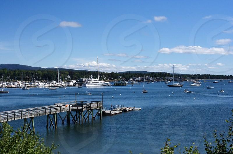 coast boats dock bay Maine sea ocean photo