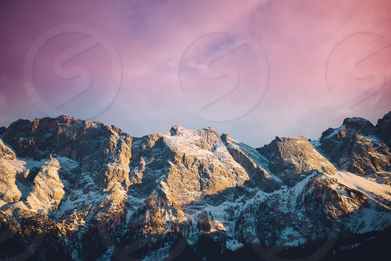 The wonderful Zugspitze mountain of the alps at sunset photo