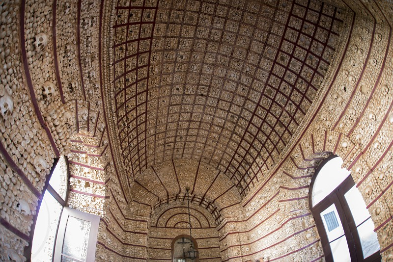 the capela dos ossos at the Igreja do Carmo in the old town of Faro at the east Algarve in the south of Portugal in Europe. photo