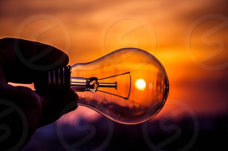 lightbulb in the sunset photo