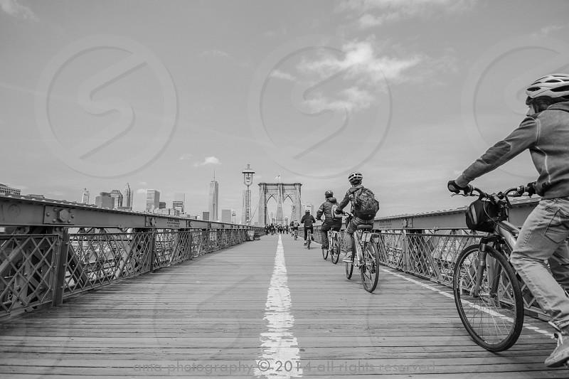 A sunny day on the Brooklyn bridge photo