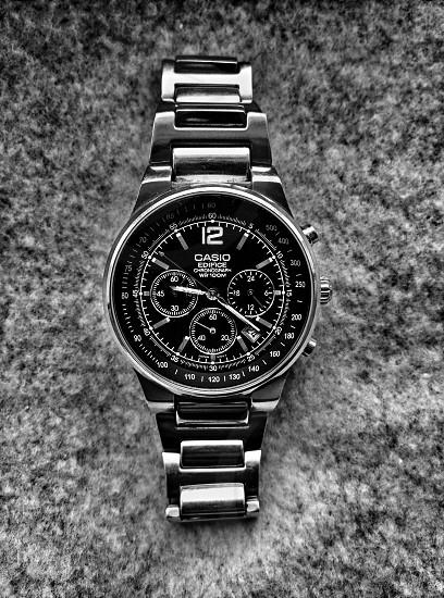 casio watch on soft gray fabric photo