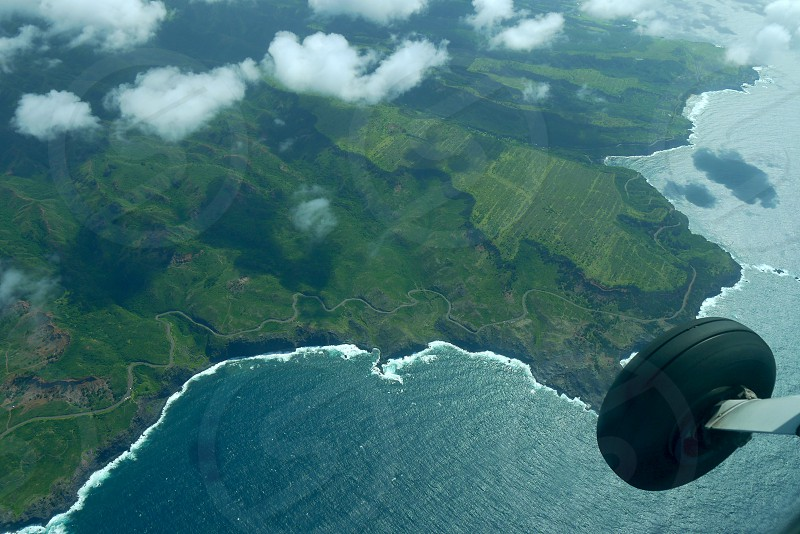 View from the airplane. Flying over hawaii photo