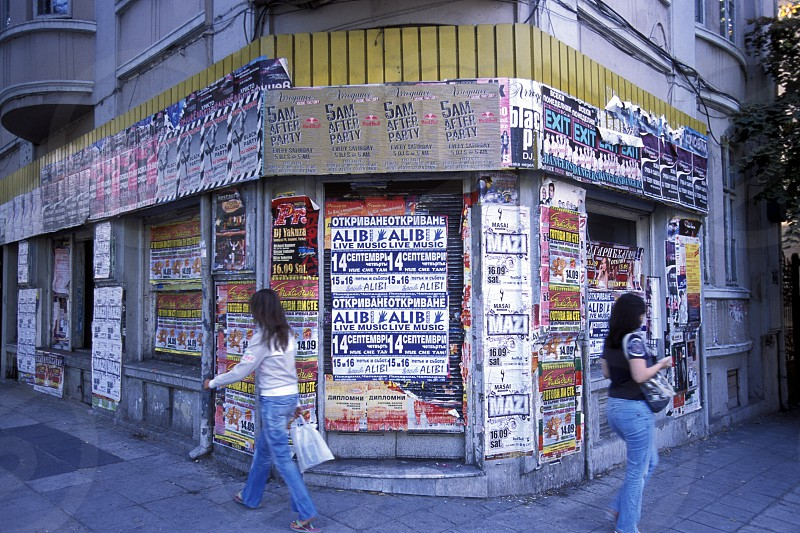 a corner with promotions in the city centre of Varna on the Blacksea in Bulgaria in east Europe. photo