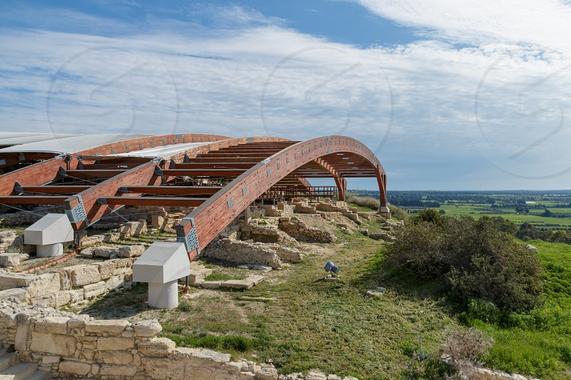 Сanopy over the ruins of the ancient city Cyprus Kourion photo