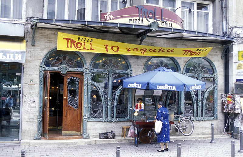 a Restaurant and cafe shop in the streets of the city of Sofia in Bulgaria in east Europe. photo