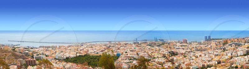 Aerial of Santa Cruz de Tenerife panoramic in Canary Islands from Mirador los Campitos photo